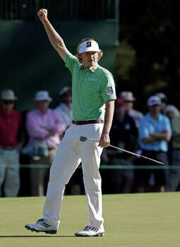 Brandt Snedeker punches the air after making a birdie putt on the 15th hole during the third round of the Masters golf tournament Saturday, April 13, 2013, in Augusta, Ga. (AP Photo/Darron Cummings) Photo: Darron Cummings, Associated Press / AP