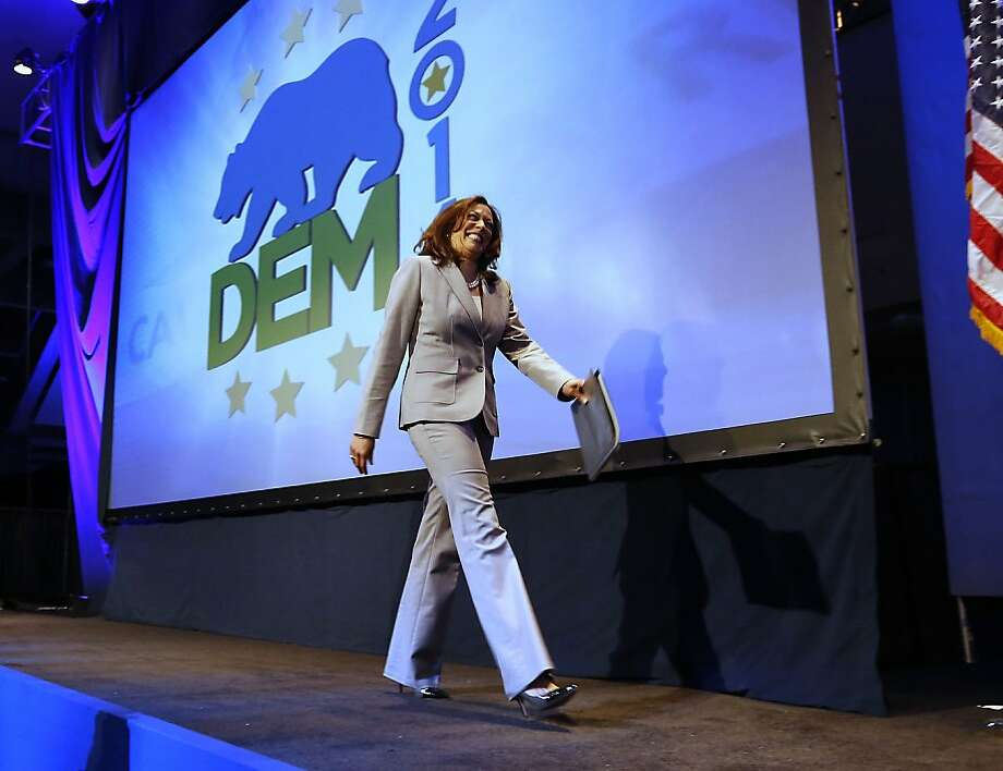 California Attorney General Kamala Harris prepares to address delegates at the 2013 Democratic Party state convention, where an oil tax was among the hot topics. Photo: Rich Pedroncelli, Associated Press