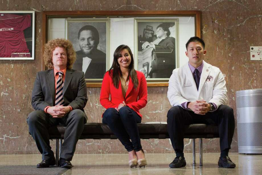 Texas Southern University's multihued student body includes Cheyney Abbott, left, Kassandra Rivera, and Jimmy Nguyen. Photo: Johnny Hanson, Staff / © 2013  Houston Chronicle