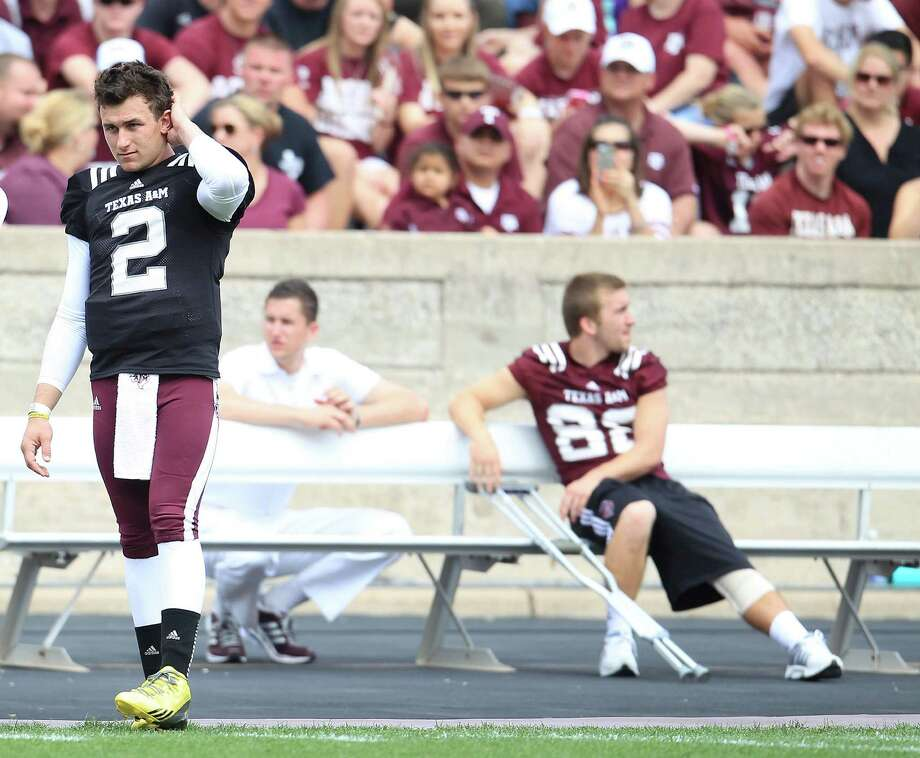 Texas A&M Aggies quarterback Johnny Manziel (2) on the sidelines in the second half of the Texas A&M University's Maroon & White, spring game at Kyle Field, Saturday, April 13, 2013, in College Station. Photo: Karen Warren, Houston Chronicle / © 2013 Houston Chronicle