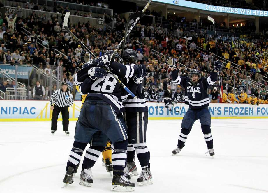 PITTSBURGH, PA - APRIL 13:  Clinton Bourbonais #15 of the Yale Bulldogs celebrates his second period goal against the Quinnipiac Bobcats during the game at Consol Energy Center on April 13, 2013 in Pittsburgh, Pennsylvania.  (Photo by Justin K. Aller/Getty Images) Photo: Justin K. Aller, Getty Images / 2013 Getty Images