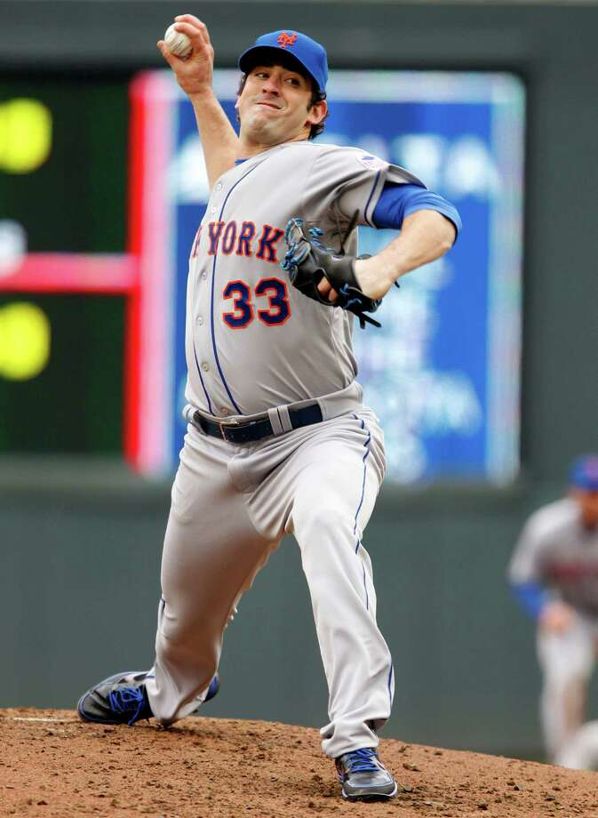 New York Mets starting pitcher Matt Harvey throws against the Minnesota Twins during the third inning of a baseball game Saturday, April 13, 2013, in Minneapolis. The Mets won 4-2. (AP Photo/Genevieve Ross) Photo: Genevieve Ross