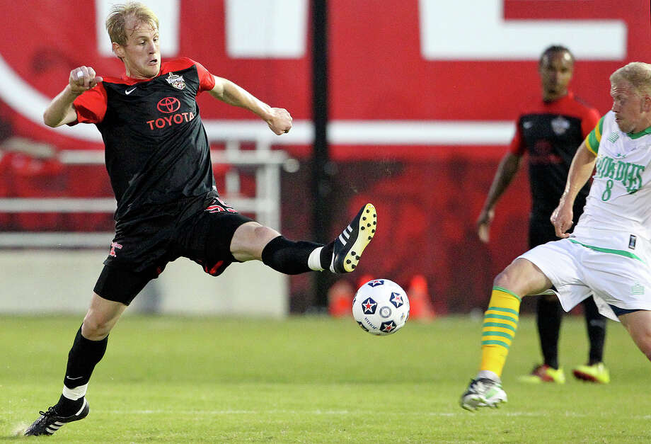 Edin Husic starts a break for the Scorpions as the San Antonio Scorpions open in their new stadium, Toyota Field against Tampa Bay on April 13, 2013. Photo: TOM REEL, Express-News