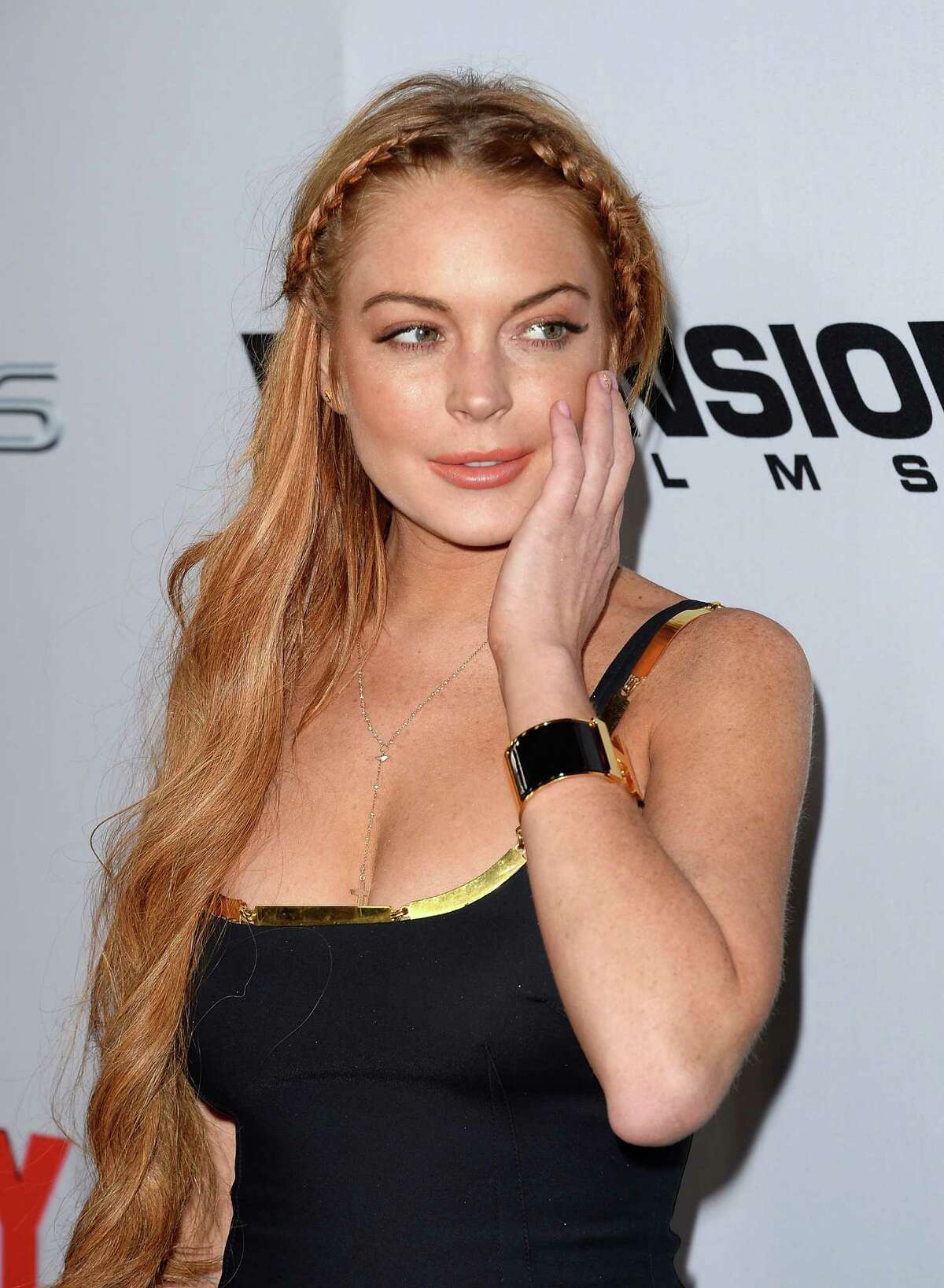 Actress Lindsay Lohan arrives at the Dimension Films'