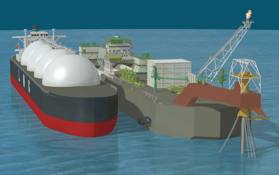 This rendering shows a floating storage regasification unit (FSRU).