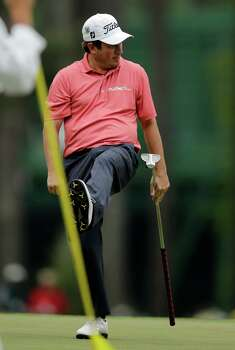 Tim Clark, of South Africa, reacts after missing a putt on the third hole during the fourth round of the Masters golf tournament Sunday, April 14, 2013, in Augusta, Ga. (AP Photo/Matt Slocum) Photo: Matt Slocum, Associated Press / AP