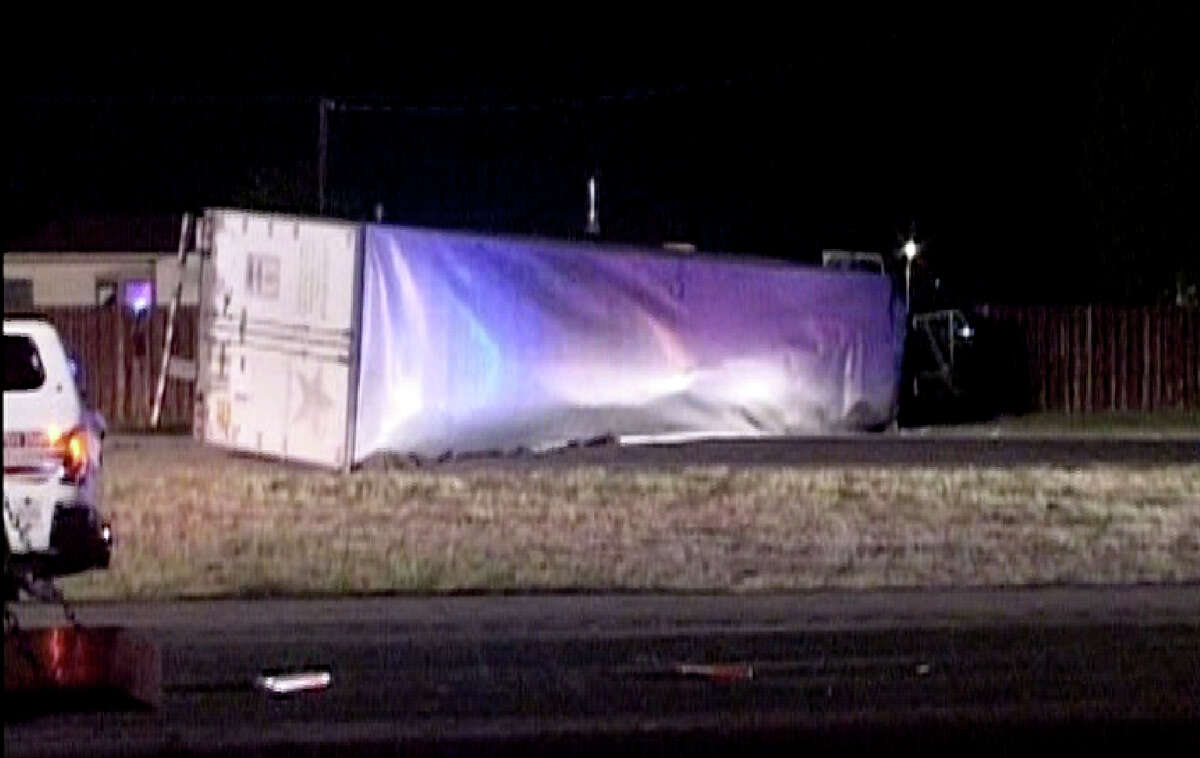 A family traveling west on U.S. 90 in a Ford SUV was struck head-on by an 18-wheeler going the wrong way near Kriewald Road just before midnight on Saturday, April 13, 2013, according to San Antonio police officials. The four people in the SUV died, including the driver and three female passengers, officials said. The other, a teenager, is in stable condition at University Hospital, officials said. The driver of the 18-wheeler was given a sobriety test at the scene.