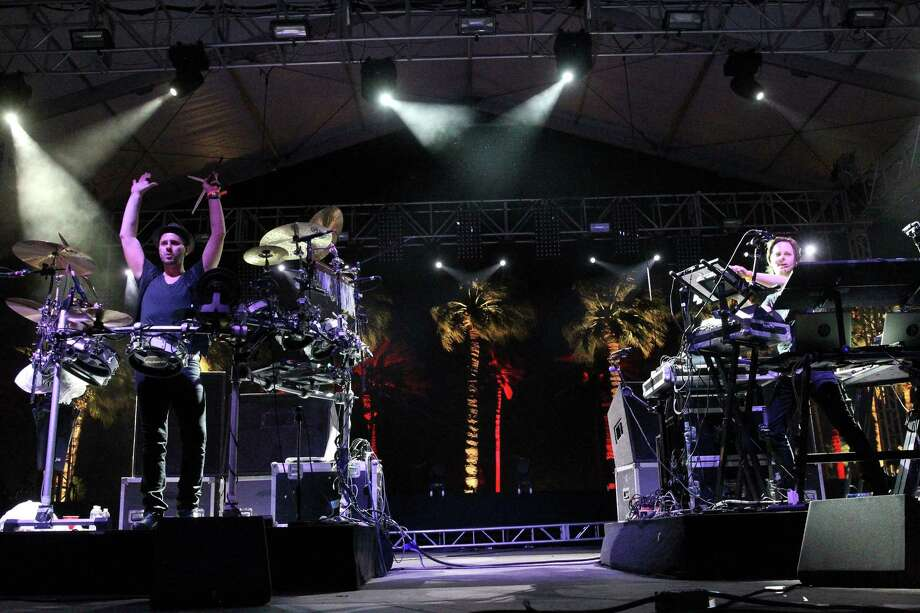 Arno Kammermeier and Walter Merziger of Booka Shade perform onstage during day 2 of the 2013 Coachella Valley Music & Arts Festival at the Empire Polo Club on April 13, 2013 in Indio, California. Photo: Karl Walter, Getty Images / 2013 Getty Images