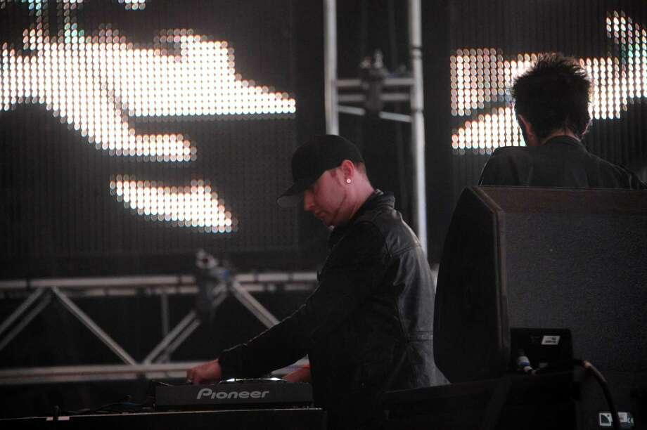 Musicians Gareth McGrillen and Rob Swire of Knife Party perform onstage during day 2 of the 2013 Coachella Valley Music & Arts Festival at the Empire Polo Club on April 13, 2013 in Indio, California. Photo: Mark Davis, Getty Images / 2013 Getty Images