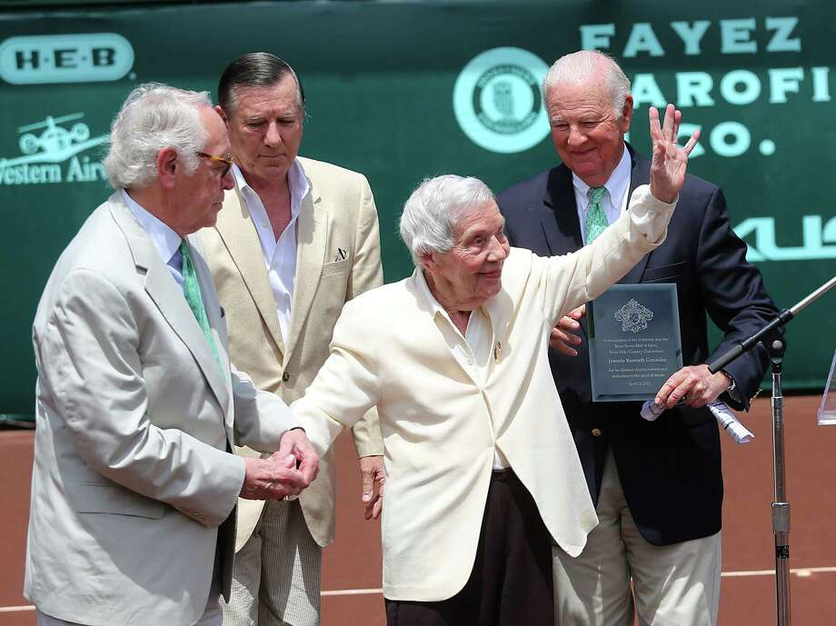 4/14/13:  Jeannie Kamrath Gonzalez, 100 years of age, is introduced by former Secretary of State James Baker before Nicolas Almagro (ESP) played against John Isner (USA) in the finals of the River Oaks US Men's Clay Court Championship at River Oaks Country Club in Houston, Texas. Gonzalez was given the Lifetime Achievement Award. She is the oldest living member of Texas Hall of Fame. Isner won 6-3, 7-5. Photo: Thomas B. Shea, For The Chronicle / © 2013 Thomas B. Shea