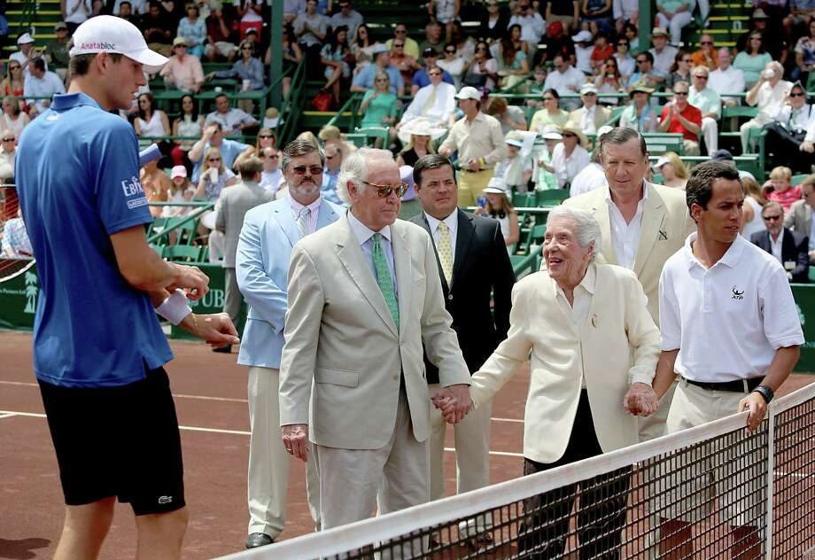 4/14/13:  Jeannie Kamrath Gonzalez, 100 years of age,  is introduced to John Isner (USA) before the finals of the River Oaks US Men's Clay Court Championship at River Oaks Country Club in Houston, Texas. Gonzalez was given the Lifetime Achievement Award. She is the oldest living member of Texas Hall of Fame. Isner won 6-3, 7-5. Photo: Thomas B. Shea, For The Chronicle / © 2013 Thomas B. Shea