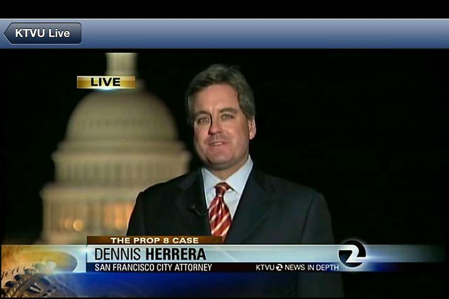 Dennis Herrera appears on TV during the U.S. Supreme Court same-sex marriage hearings.