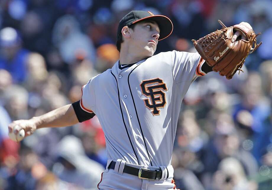 San Francisco Giants starter Tim Lincecum throws against the Chicago Cubs during the first inning of a baseball game in Chicago, Sunday, April 14, 2013. (AP Photo/Nam Y. Huh) Photo: Nam Y. Huh, Associated Press
