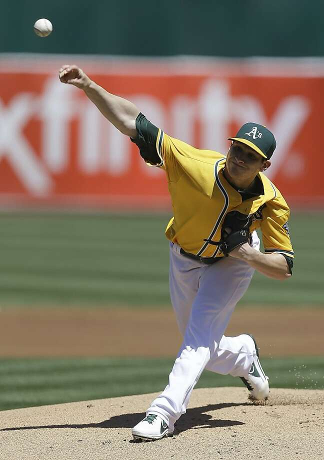 Oakland Athletics' Jarrod Parker  works against the Detroit Tigers in the first inning of a baseball game Sunday, April 14, 2013, in Oakland, Calif. (AP Photo/Ben Margot) Photo: Ben Margot, Associated Press