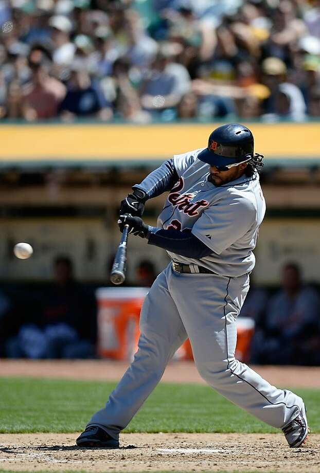 OAKLAND, CA - APRIL 14:  Prince Fielder #28 of the Detroit Tigers hits an RBI double, driving in Miguel Cabrera #24 against the Oakland Athletics in the fourth inning at O.co Coliseum on April 14, 2013 in Oakland, California.  (Photo by Thearon W. Henderson/Getty Images) Photo: Thearon W. Henderson, Getty Images