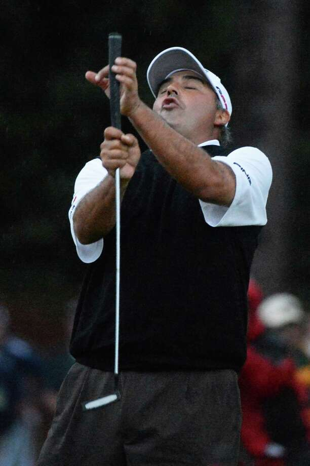 AUGUSTA, GA - APRIL 14:  Angel Cabrera of Argentina reacts after missing a birdie putt on the second sudden death playoff hole before losing to Adam Scott of Australia in final round of the 2013 Masters Tournament at Augusta National Golf Club on April 14, 2013 in Augusta, Georgia. Photo: Harry How, Getty Images / 2013 Getty Images