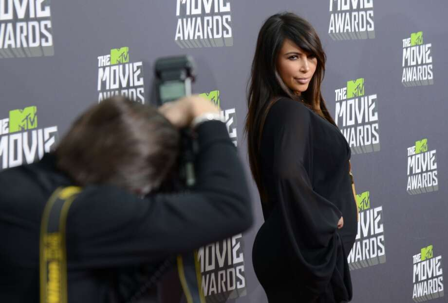 Kim Kardashian arrives at the MTV Movie Awards in Sony Pictures Studio Lot in Culver City, Calif., on Sunday April 14, 2013. (Photo by Jordan Strauss/Invision/AP)