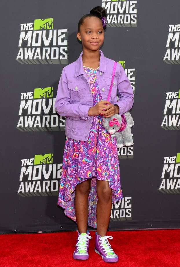 Actress Quvenzhane Wallis poses on arrival for the 2013 MTV Movie Awards in Los Angeles, California, on April 14, 2013.   AFP PHOTO/Frederic J. BROWNFREDERIC J. BROWN/AFP/Getty Images