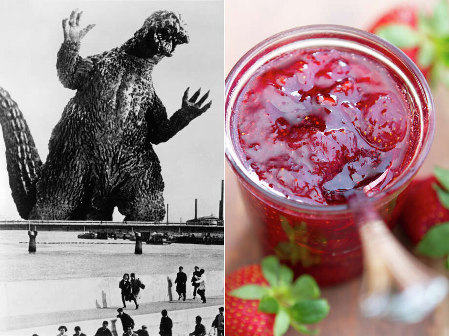 "Matt Frank: ""I'd find a way to make a sculpture of Godzilla entirely out of strawberry jam. And only I could eat it. Nobody else.""   LEFT: Godzilla in a scene from the 1971 film ""Godzilla VS. The Smog Monster."" RIGHT: Strawberry preserves. Photo: LEFT: Toho / Getty Images, RIGHT: Robert Linton,  E+ / Getty Images"