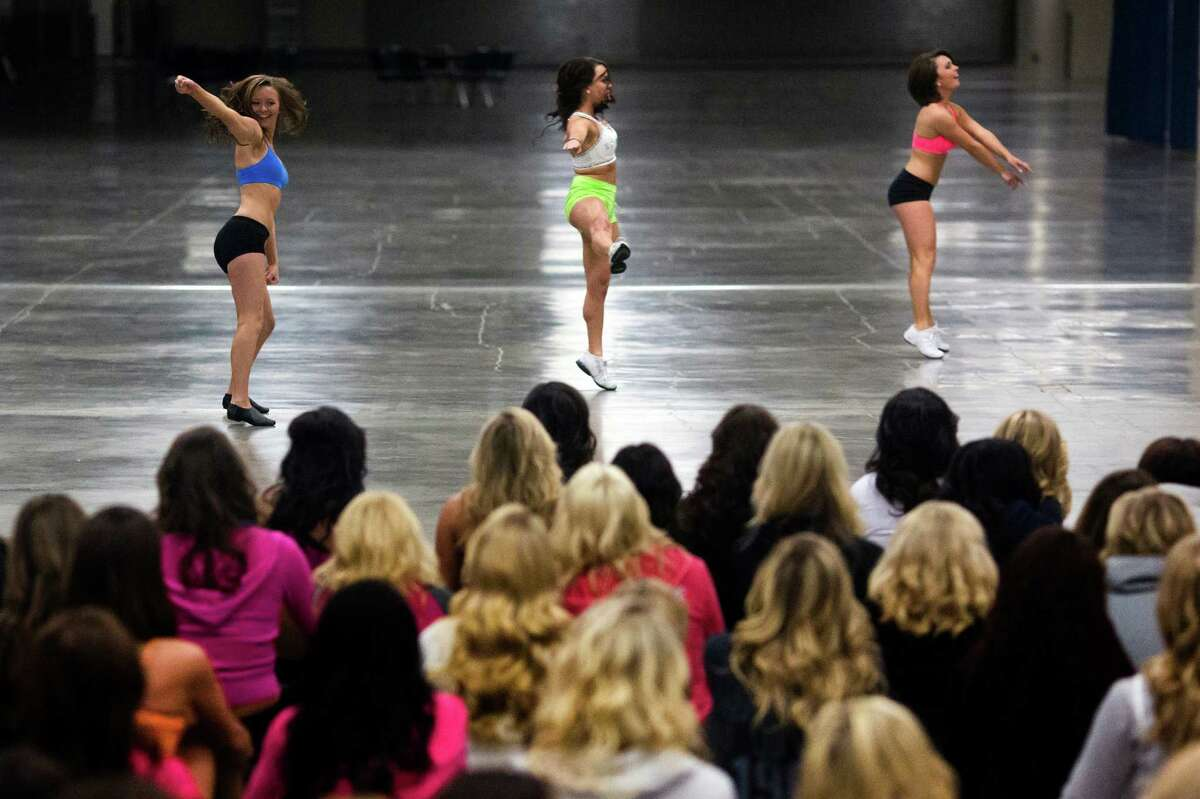 Over 180 hopeful women showed up for the first round of open Sea Gals auditions Sunday, April 14, 2013, at the CenturyLink Field Event Center in Seattle. Contestants were judged on dance ability, pizzazz and physical appearance. Nearly half of the attendees made the preliminary cut.