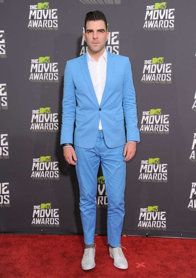 Actor Zachary Quinto arrives at the MTV Movie Awards in Sony Pictures Studio Lot in Culver City, Calif., on Sunday April 14, 2013. (Photo by Jordan Strauss/Invision/AP)