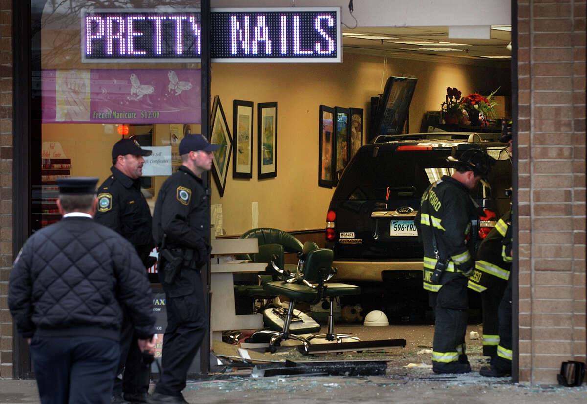 An SUV managed to crash into the Pretty Nails salon in the Stratford Square shopping center, injuring several people on Friday afternoon April 12, 2013.