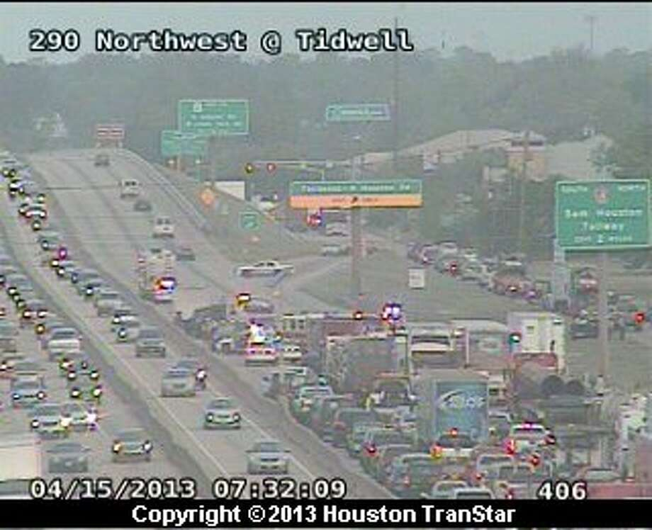 A six-car pileup forced officials to temporarily  shutdown portions of the westbound Northwest Freeway near Fairbanks North Houston about 6 a.m. Monday. Photo: Houston Transtar