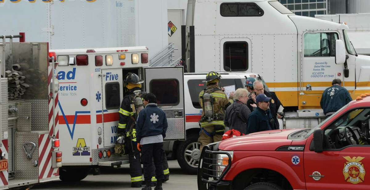 Albany Fire Department and Five Quad ambulance check out possible victims at the Albany Nano Tech center at the University at Albany Monday morning April 15, 2013, in Albany, N.Y. where a hydrogen sulfide leak occurred. (Skip Dickstein/Times Union)
