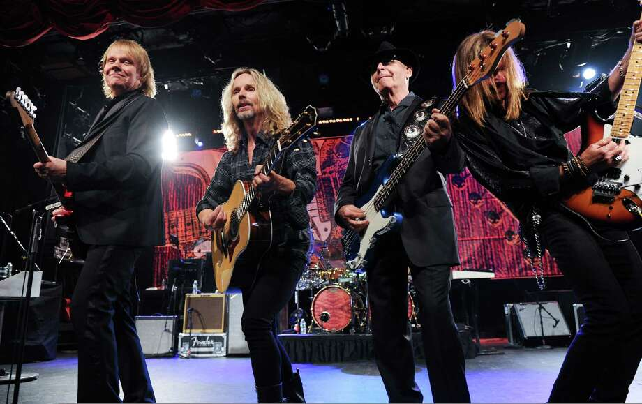 "IMAGE DISTRIBUTED FOR HARD ROCK INTERNATIONAL - From left, musicians James ""J.Y."" Young, Tommy Shaw, Chuck Panozzo and Ricky Phillips of the band Styx, perform at Eric Clapton's Crossroads Guitar Festival artist party at The Hard Rock Cafe New York on Thursday, April 11, 2013 in New York City, New York. Photo: Evan Agostini, Invision For Hard Rock Internati / Invision"