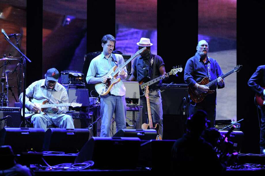 "Musicians Matt ""Guitar"" Murphy, left, Blake Mills and Steve Cropper perform at Eric Clapton's Crossroads Guitar Festival 2013 at Madison Square Garden on Friday April 12, 2013 in New York. (Photo by Evan Agostini/Invision for Hard Rock International/AP Images) Photo: Evan Agostini, Evan Agostini/Invision/AP / Invision"