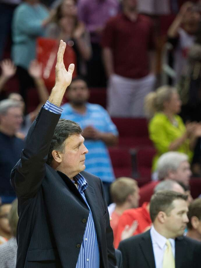 Rockets head coach Kevin McHale waves to the crowd after the final home game of the regular season.