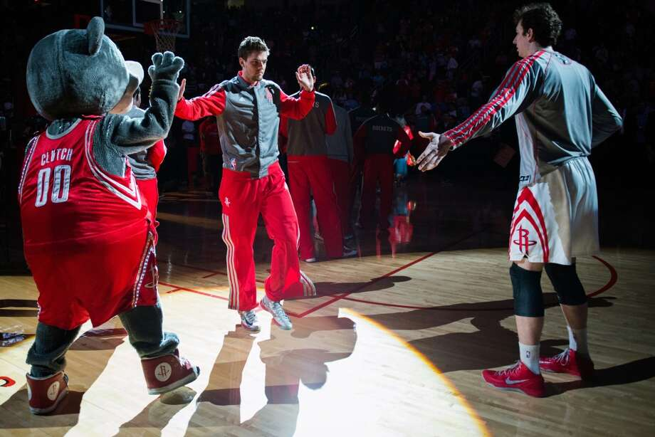 Rockets small forward Chandler Parsons is introduced before facing the Kings in his return to action after missing four games.
