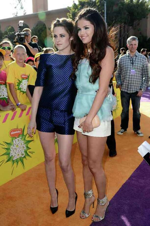 LOS ANGELES, CA - MARCH 23:  Actresses Kristen Stewart and Selena Gomez arrive at Nickelodeon's 26th Annual Kids' Choice Awards at USC Galen Center on March 23, 2013 in Los Angeles, California. Photo: Frazer Harrison, Getty Images / 2013 Getty Images