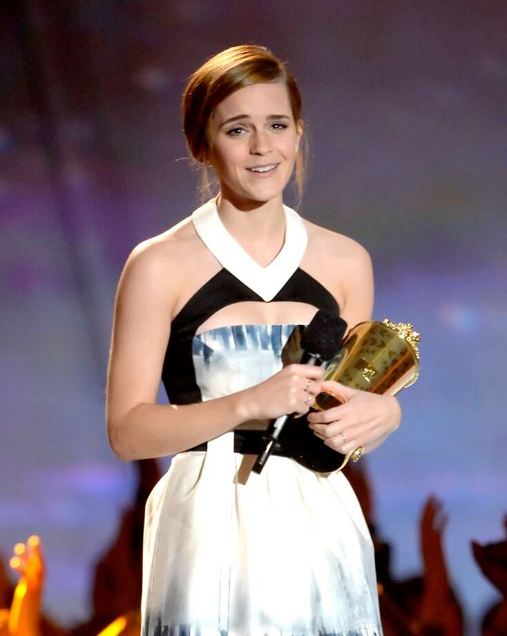 CULVER CITY, CA - APRIL 14:  Actress Emma Watson accepts the MTV Trailblazer award onstage during the 2013 MTV Movie Awards at Sony Pictures Studios on April 14, 2013 in Culver City, California.  (Photo by Kevork Djansezian/Getty Images)