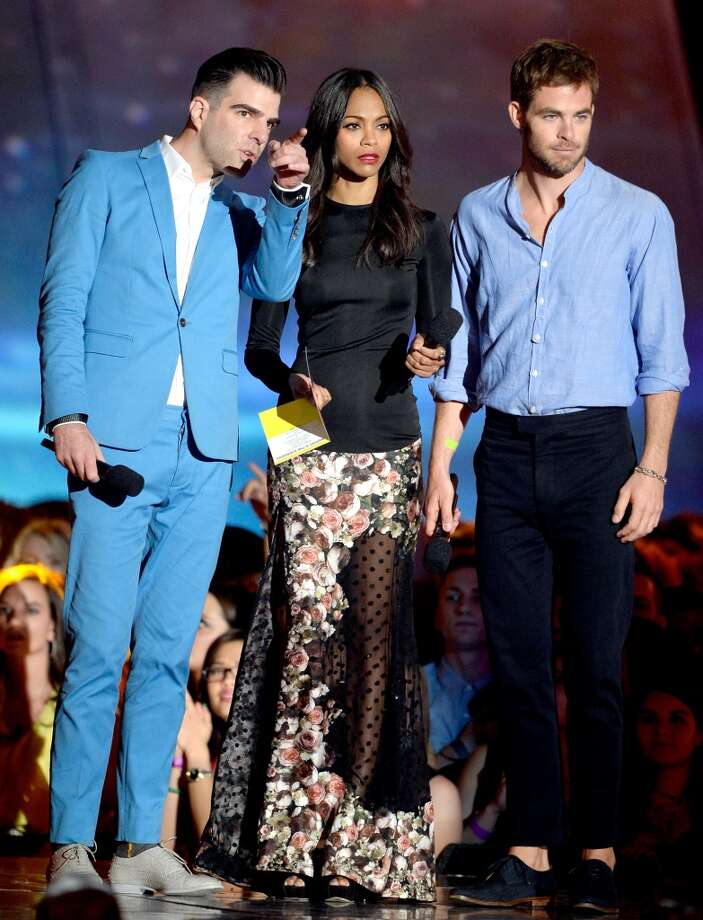 CULVER CITY, CA - APRIL 14:  (L-R) Actors Zachary Quinto, Zoe Saldana and Chris Pine speak onstage during the 2013 MTV Movie Awards at Sony Pictures Studios on April 14, 2013 in Culver City, California.  (Photo by Kevork Djansezian/Getty Images)