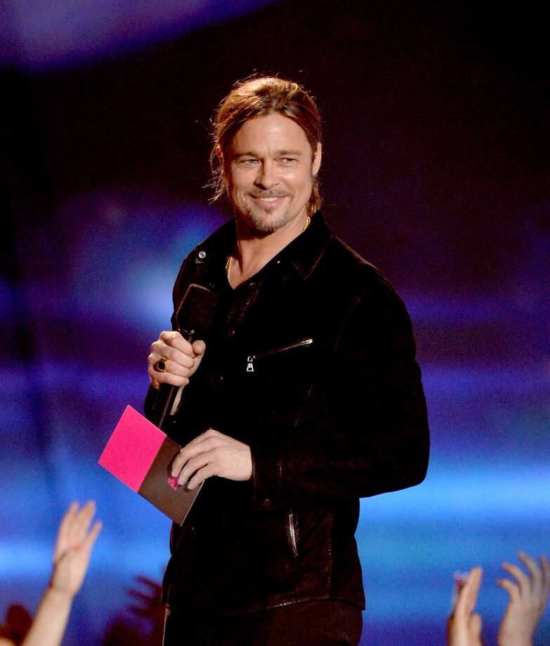 CULVER CITY, CA - APRIL 14:  Actor Brad Pitt onstage during the 2013 MTV Movie Awards at Sony Pictures Studios on April 14, 2013 in Culver City, California.  (Photo by Kevork Djansezian/Getty Images)