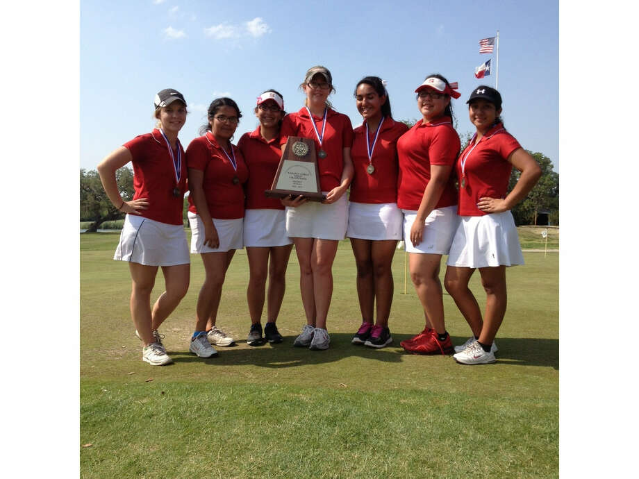 Members of the Southside golf team pictured (from the left) are Lindsey Garcia, Sierra Hernandez, Summer Gonzales, Linda Mutz, Alexis Uriegas, Alyssa Garza and Rachel Fuentes. Photo: Courtesy Photo
