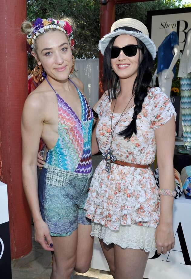 PALM SPRINGS, CA - APRIL 12:  DJ Mia Moretti (L) and singer Katy Perry attend Harper's BAZAAR Coachella poolside fete at the Parker Palm Springs on April 12, 2013 in Palm Springs, California.  (Photo by John Sciulli/Getty Images for Harper's BAZAAR)