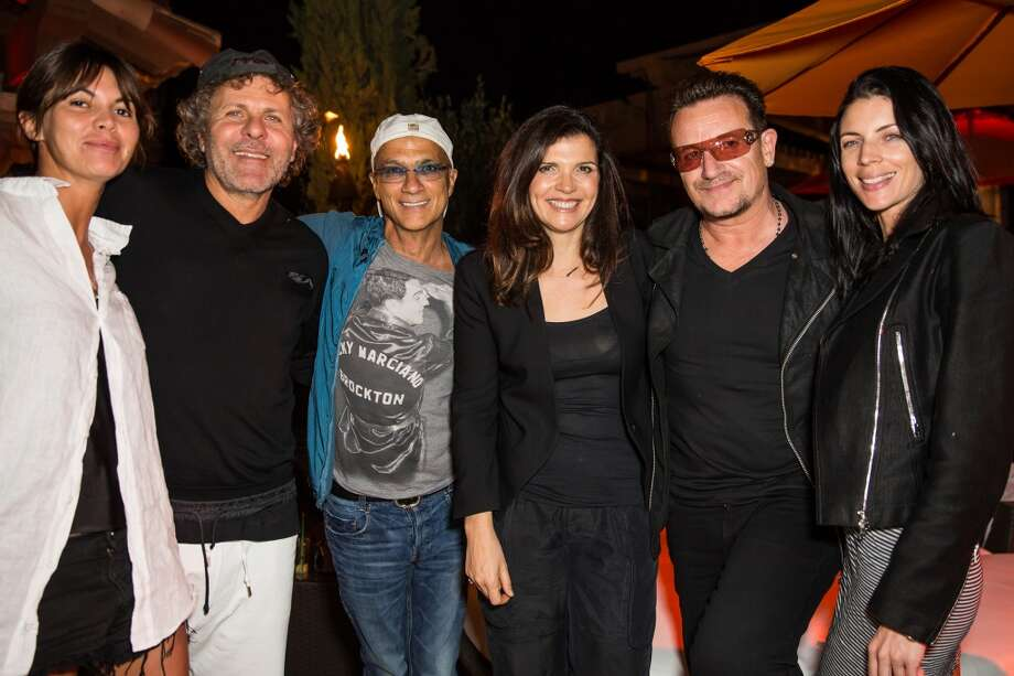 LA QUINTA, CA - APRIL 12:  (2L-R) Arianna Alessi, Diesel president Renzo Rosso, producer Jimmy Iovine, designer Ali Hewson, singer Bono and model Liberty Ross attend the DIESEL + EDUN Studio Africa Event At Indio Valley With Rolling Stone Rock Room at Tally Horse Ranch on April 12, 2013 in La Quinta, California.  (Photo by Chelsea Lauren/Getty Images for DIESEL)