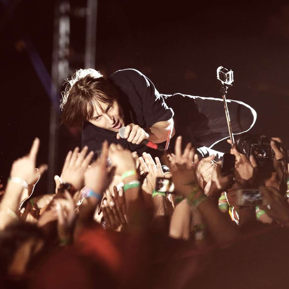 INDIO, CA - APRIL 13:  (EDITORS NOTE: THIS IMAGE HAS BEEN DIGITALLY MANIPULATED) Musician Thomas Mars of Phoenix performs onstage during day 2 of the 2013 Coachella Valley Music & Arts Festival at the Empire Polo Club on April 13, 2013 in Indio, California.  (Photo by Christopher Polk/Getty Images for Coachella)