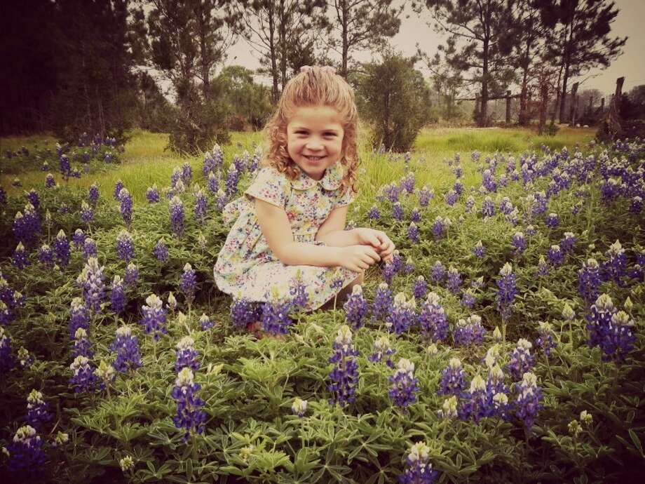 Rileigh in the bluebonnets in Plantersville. Photo: Reader Submission