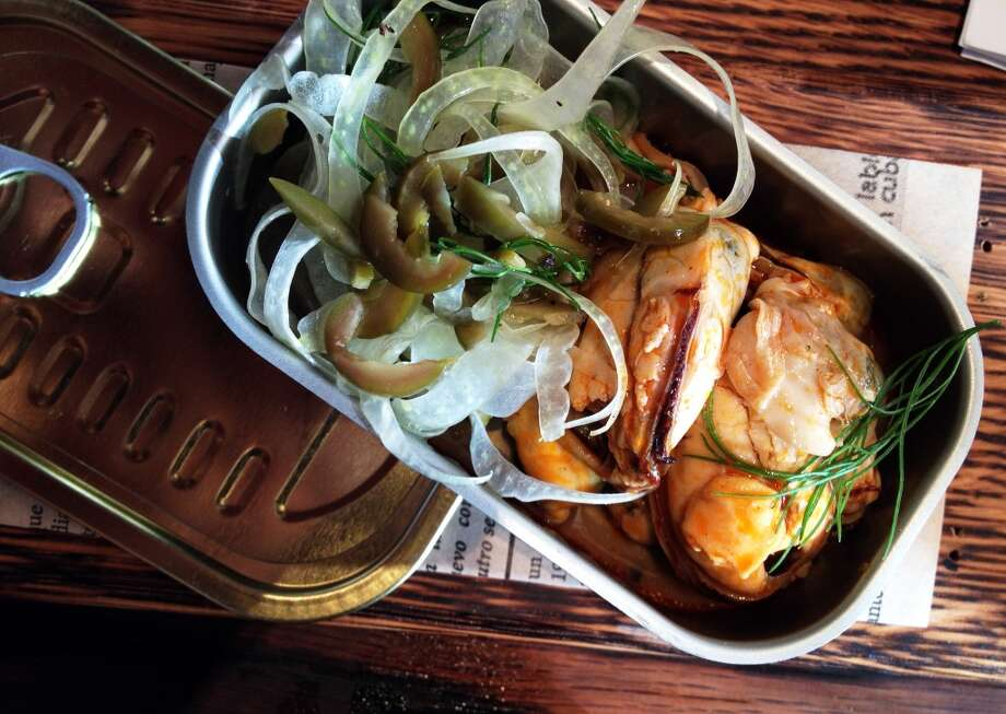 Shellfish escabeche, canned fresh daily, with fennel salad, and green olives $8