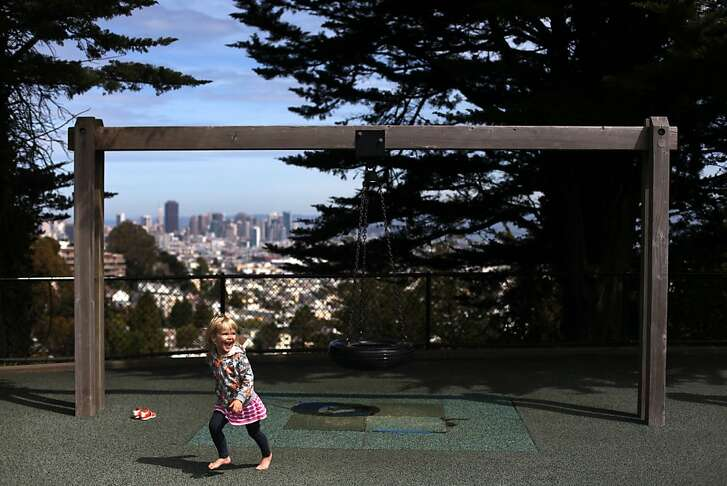 Jillian Metzger, 3, playing at Walter Haas Playground in Diamond Heights on March 26, 2013.
