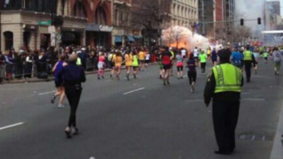 This photo from Twitter shows an explosion near the finish line of the 2013 Boston Marathon.
