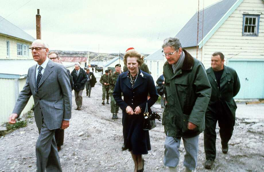 """Former British Prime Minister Margaret Thatcher tours the Falkland Islands in  January 1983. The """"Iron Lady"""" shaped a generation of British politics. Photo: File Photo, Getty Images"""