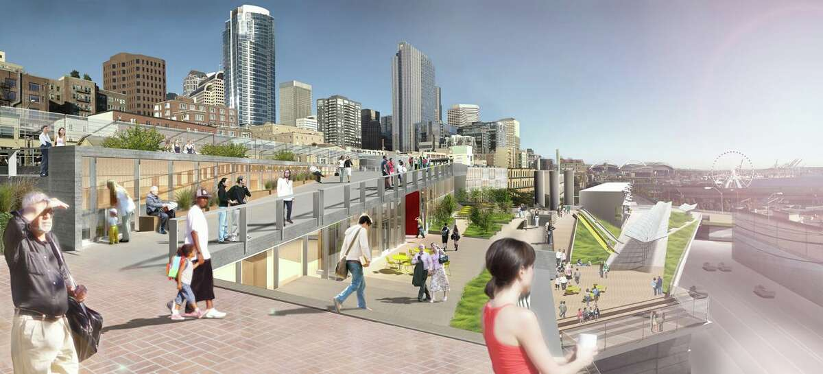 This artist's depiction shows the proposed PC-1 North project, which would put parking, retail and restaurant space, and homes for low-income residents on three-quarters of an acre at the north side of Pike Place Market.