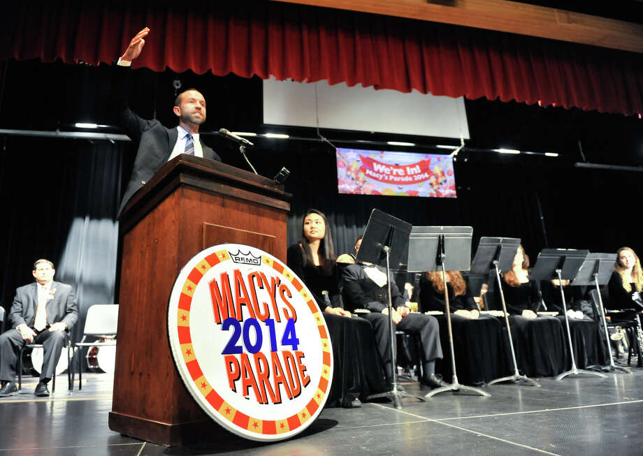 Wesley Whatley, creative director of the Macy's Parade, announces Monday  at Churchill High School that the school's band will march in the 2014 Macy's Thanksgiving Day Parade. Photo: Robin Jerstad