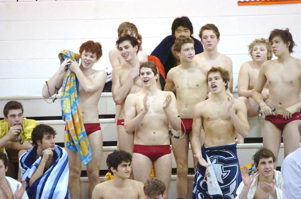 Greenwich Cardinals cheer as Greenwich hosts Darien in a swim meet Wednesday afternoon, January 6, 2009. Greenwich won the meet 128-58.