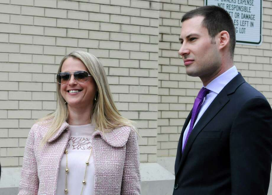 Louise Meanwell, the alleged former mistress of Yankees General Manager Brian Cashman, is shown with her attorney Daniel Geller on Monday, April 14, 2013 in Troy, N.Y. (Lori Van Buren / Times Union) Photo: Lori Van Buren