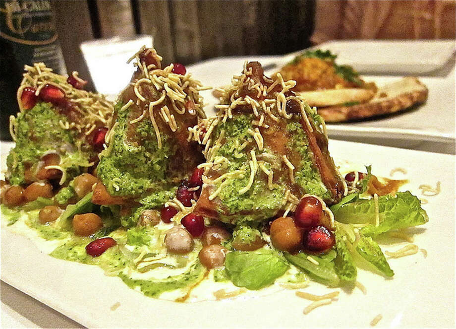 Samosa Chaat at Indika, with lentil crisps, pomegranate seeds and cilantro and tamarind chutneys.